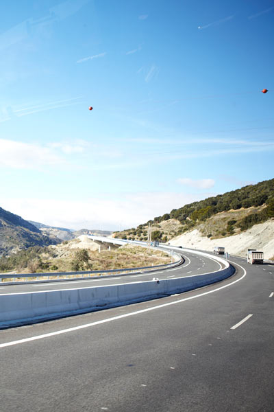 road view of motorway from ALSA bus in Spain by Janie Airey photographer