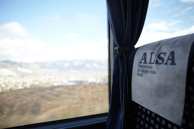 ALSA bus seat and view of Spanish countryside by Janie Airey photographer