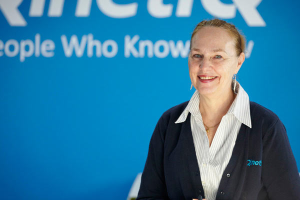 portrait of receptionist for QinetiQ by Janie Airey photographer