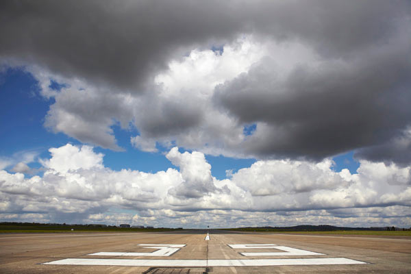 airfield runway and text for QinetiQ by Janie Airey photographer